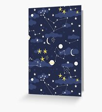 cosmos, moon and stars. Astronomy pattern Greeting Card