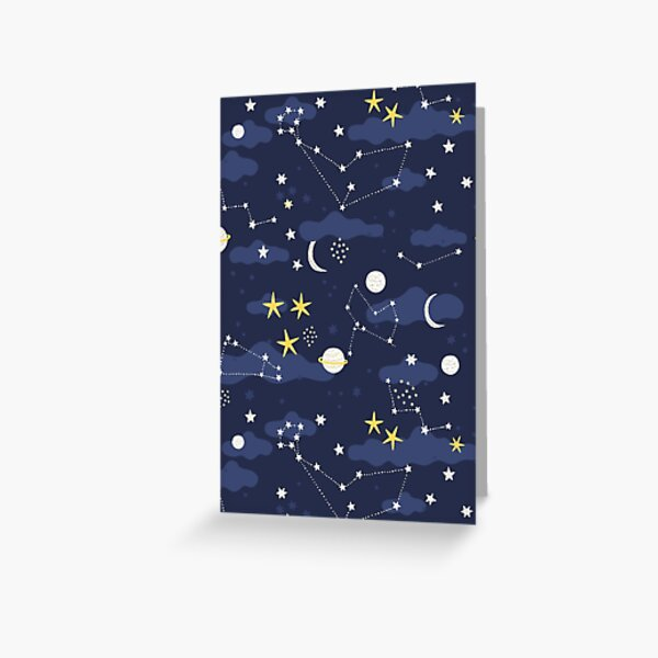 Galaxy - cosmos, moon and stars. Astronomy pattern. Cute cartoon universe design. Greeting Card
