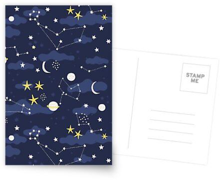 Kosmos, Mond und Sterne. Astronomie-Muster von Anna Alekseeva