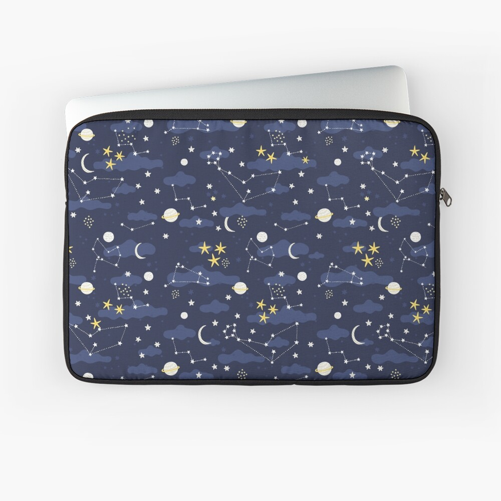 Galaxy - cosmos, moon and stars. Astronomy pattern. Cute cartoon universe design. Laptop Sleeve