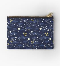 cosmos, moon and stars. Astronomy pattern Zipper Pouch