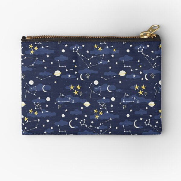 Galaxy - cosmos, moon and stars. Astronomy pattern. Cute cartoon universe design. Zipper Pouch