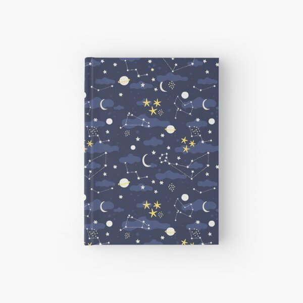 Galaxy - cosmos, moon and stars. Astronomy pattern. Cute cartoon universe design. Hardcover Journal