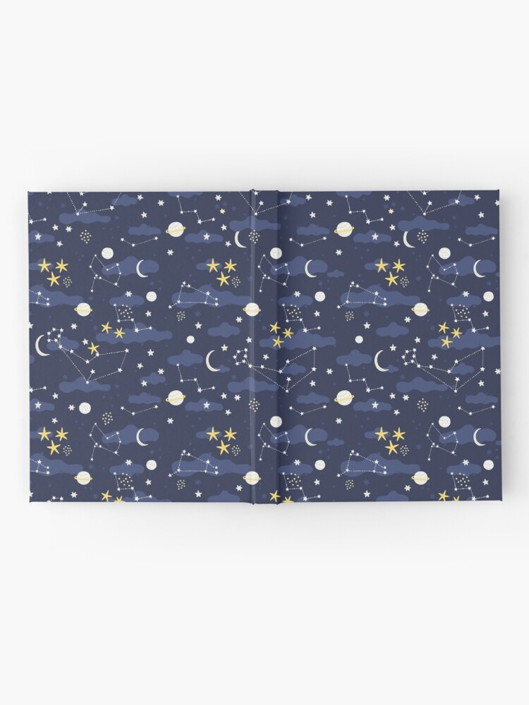 Alternate view of Galaxy - cosmos, moon and stars. Astronomy pattern. Cute cartoon universe design. Hardcover Journal