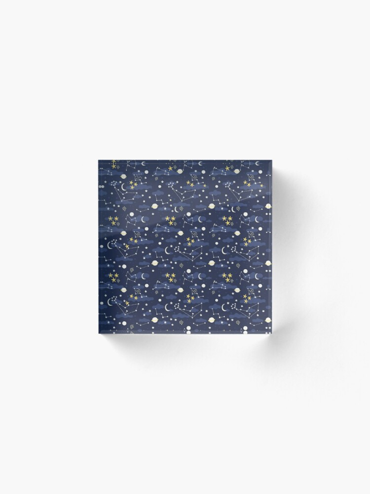 Alternate view of cosmos, moon and stars. Astronomy pattern Acrylic Block
