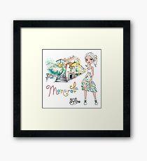 Fashionable girl and cute cat in Manarola Framed Print