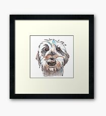 Does my hair look good? Dog portrait illustration in watercolors Framed Print