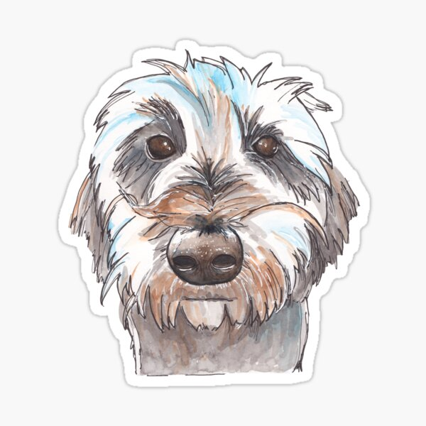 Does my hair look good? Dog portrait illustration in watercolors Sticker