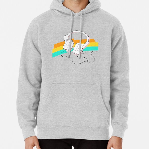Headphones and rainbow colors Pullover Hoodie
