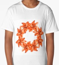 Lily wreath frame illustration hand drawn painted watercolor Long T-Shirt