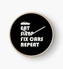 EAT, SLEEP, FIX CARS, REPEAT FUNNY T-SHIRT CAR Clock
