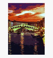 Magical Sunset over Rialto Bridge in Venice Photographic Print