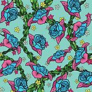 Blue Rose Pattern by Little Monster