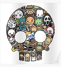 Horror Collage Funny Slasher Skull Poster