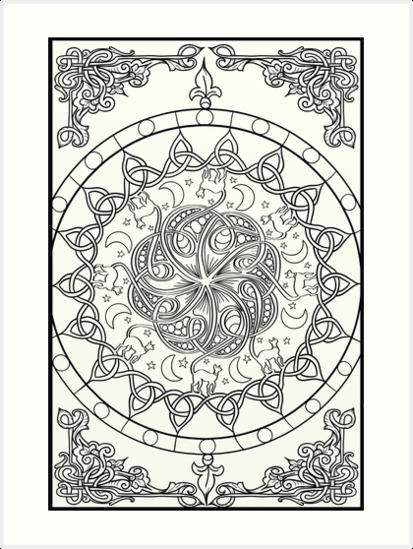 Láminas artísticas «Cat Tails - Nudo celta Mandala» de lozsart ...
