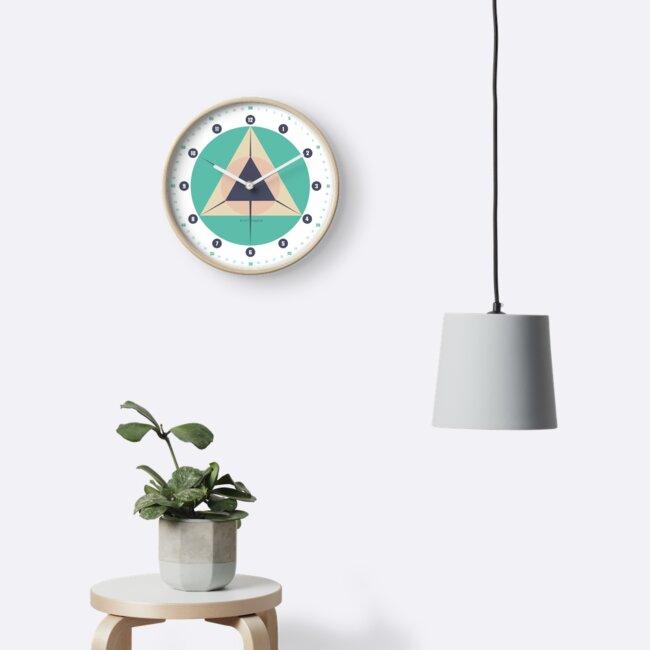 Wanduhr Geometrisch Skandinavisch Trigonom Circle © hatgirl.de von hatgirldesign