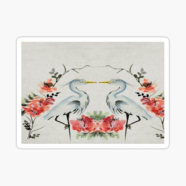 Feng Shui Cranes Couple avec des fleurs Sticker