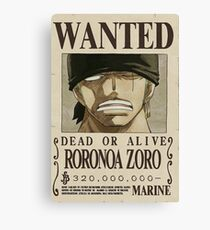 Wanted Zoro One Piece Canvas Print