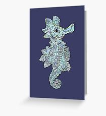 Tropical Seahorse Illustration Greeting Card