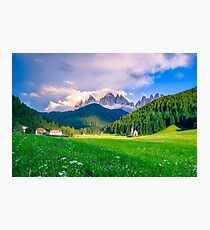 Traditional alpine St Johann church in Val di Funes valley, Santa Maddalena touristic village, Dolomites, Italy, Europe Photographic Print