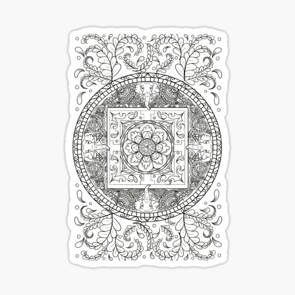 Traditional Elephant Mandala Black and White Design Sticker