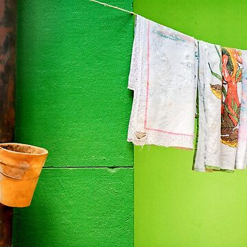 Vase, towels and green wall by sil63
