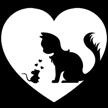 Love Is No Border - Cat and Mouse Heart Symbol by ntmn1982