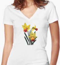Three Daffodils Women's Fitted V-Neck T-Shirt