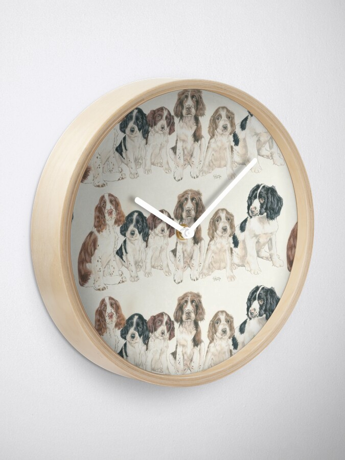 Alternate view of English Springer Spaniel Puppies Clock