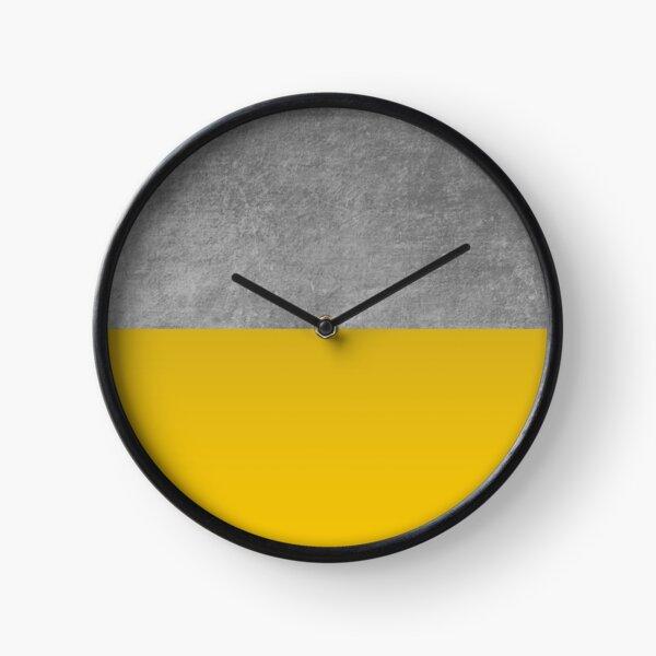 Concrete and Mustard Color Block  Clock
