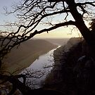 River Elbe, view from Bastei, Germany by Lenka