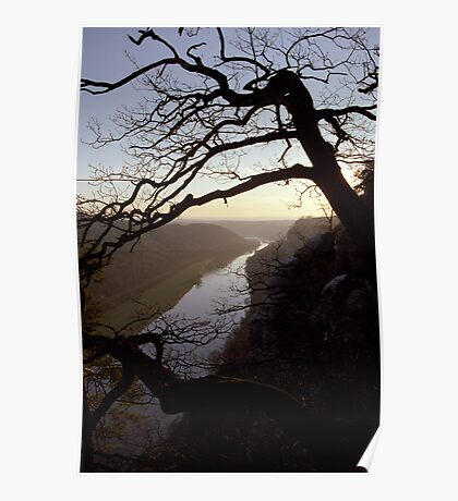 River Elbe, view from Bastei, Germany Poster