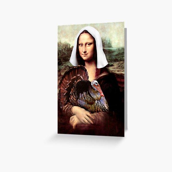 Mona Lisa Thanksgiving Pilgrim Greeting Card