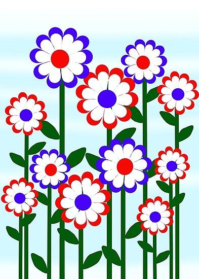 Retro Patriotic Flowers by Gravityx9