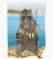 Raccoon Fisherman Poster