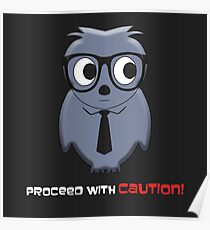Proceed with Caution Cartoon Poster
