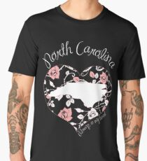 North Carolina - Always In My Heart (Pastel Color Version) Men's Premium T-Shirt