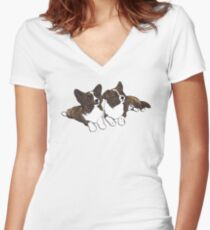 Chibi Brindle Cardigan Corgis Women's Fitted V-Neck T-Shirt