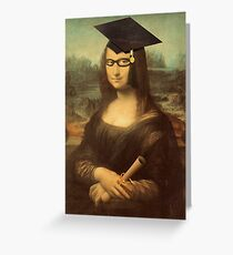 Mona Lisa Graduate with Glasses Greeting Card