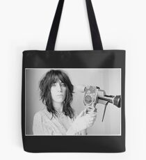 Patti Smith with a video camera Tote Bag