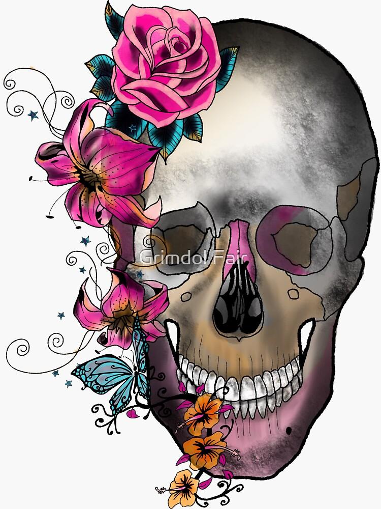 Gothic Floral Skull by amandadgatton