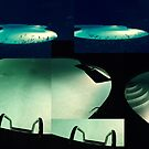 Spooky Summer Pool at Night Collage by makarmusic
