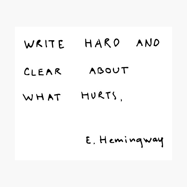 Write hard and clear about what hurts.  Photographic Print