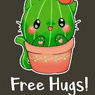 """«Cute Kawaii cactus cat """"Free Hugs""""» de linkitty"""
