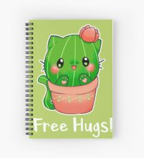 "Cute Kawaii cactus cat ""Free Hugs"" Spiral Notebook"