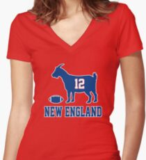 Goat 12 New England Women's Fitted V-Neck T-Shirt