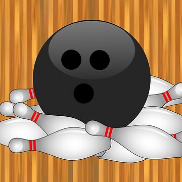 STRIKE! Bowling Ball and Pins by Gravityx9