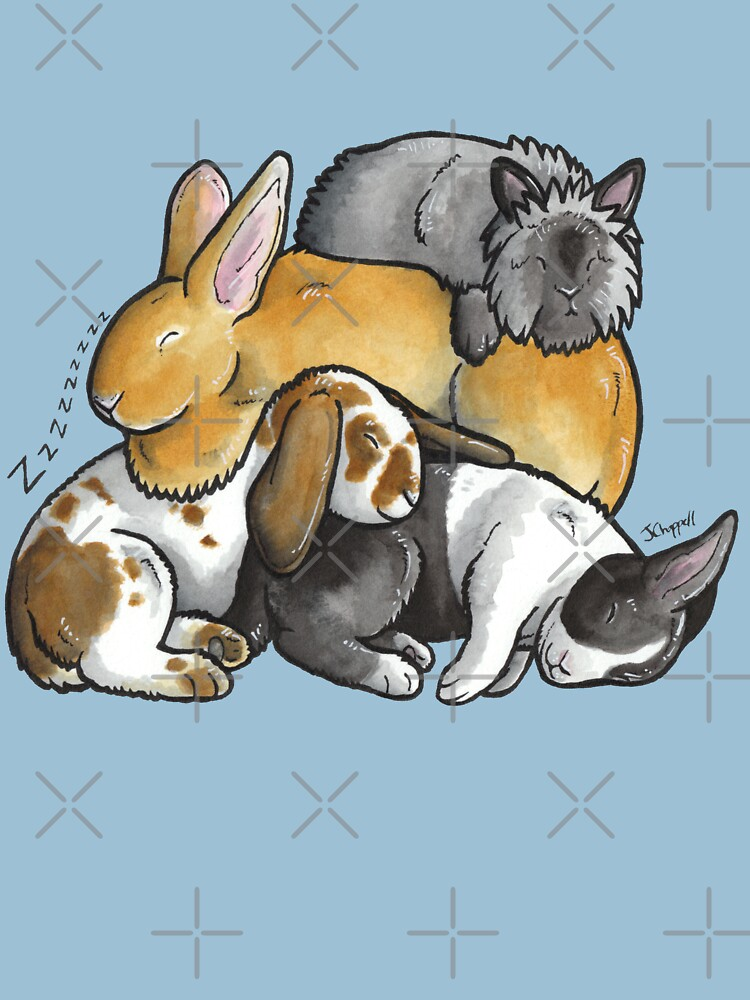 Sleeping pile of pet rabbits by animalartbyjess