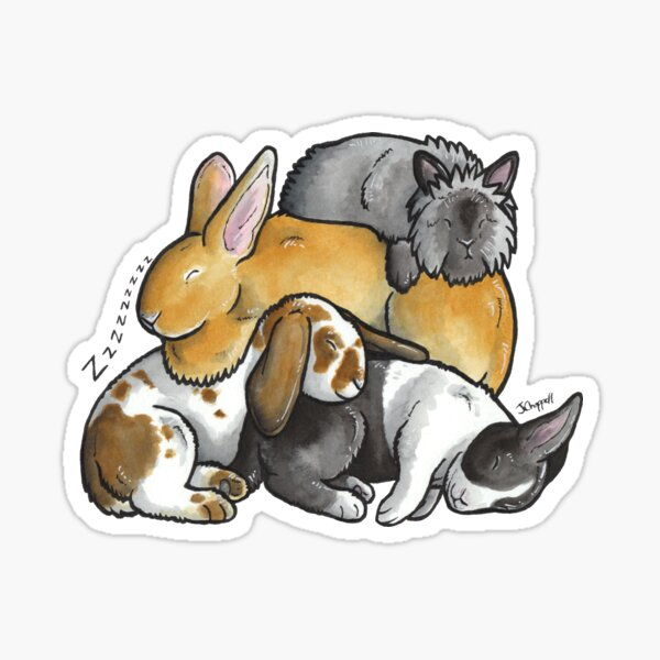 Sleeping pile of pet rabbits Sticker