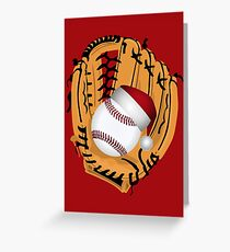 Christmas Baseball Glove and Ball Greeting Card